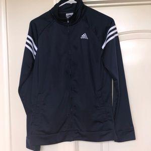 Adidas zip navy and white 3 stripes, boys XL 18/20